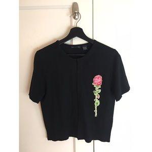 Vtg Anthro Cashmere Silk Rose Appliqué Sweater XL